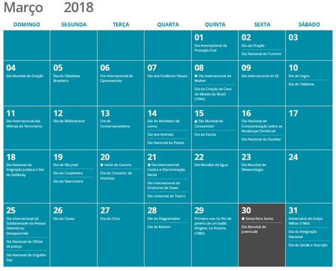 calendario de março